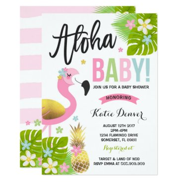 Toddler & Baby themed Flamingo Baby Shower Invitation Tropical Shower
