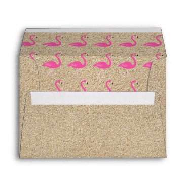 Beach Themed Flamingo Baby Shower Invite Envelope in beach sand