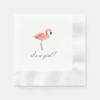 Flamingo Baby Shower Coined Cocktail Napkin