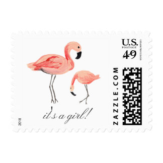 Flamingo Baby Shower Postage