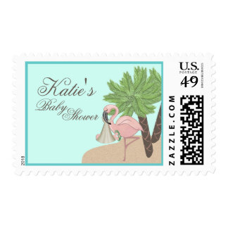 Flamingo Baby with Flip Flops Postage Stamp