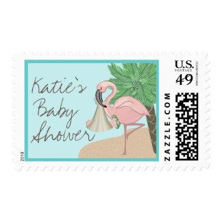 Flamingo Baby with Flip Flops Postage Stamp