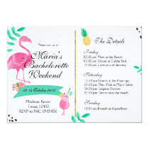 Flamingo Bachelorette Weekend Itinerary Invitation