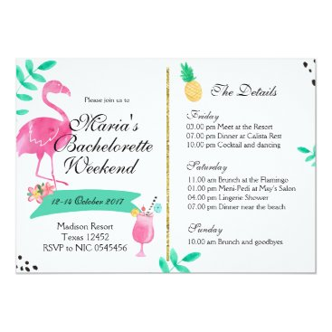 Beach Themed Flamingo Bachelorette Weekend Itinerary Invitation