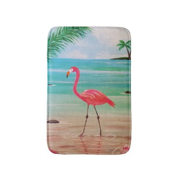 Beach Themed Flamingo Bath Mat