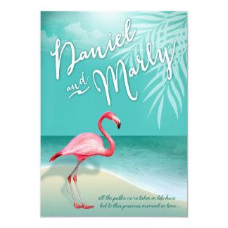 Flamingo Beach | aqua Wedding Card