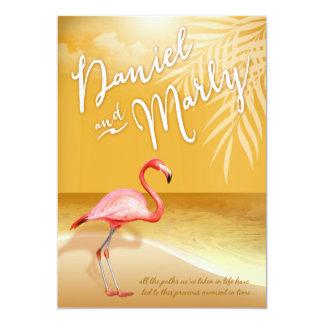 Flamingo Beach | gold Wedding Card
