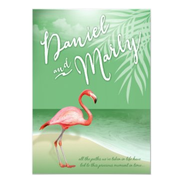 Beach Themed Flamingo Beach | jade Wedding Card