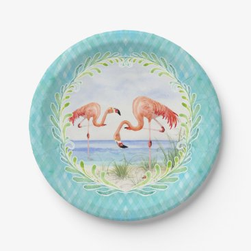Beach Themed Flamingo Beach Ocean Sandy Shore Picnic Watercolor Paper Plate
