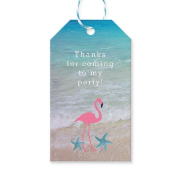 Beach Themed Flamingo Beach Party Custom Favor Tags