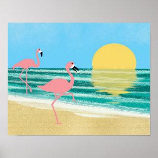 Flamingo Beach Poster