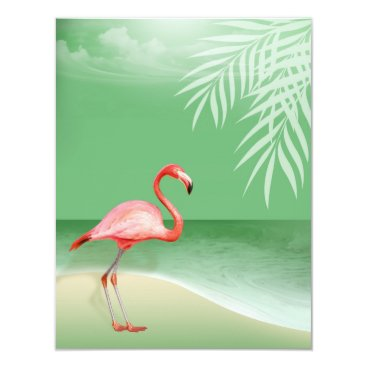 Beach Themed Flamingo Beach Reception Details | jade Card