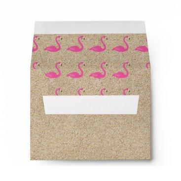 Beach Themed Flamingo Beach RSVP Envelope