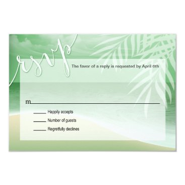 Beach Themed Flamingo Beach RSVP Response Card | jade