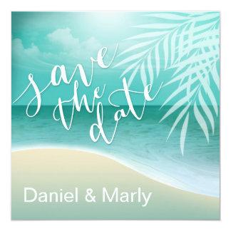 Flamingo Beach Save the Date | aqua Card