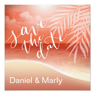 Flamingo Beach Save the Date | coral Personalized Invitations