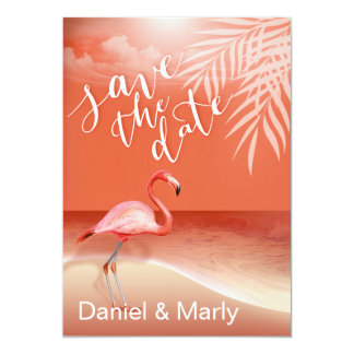 Flamingo Beach Save the Date | coral Custom Invitation