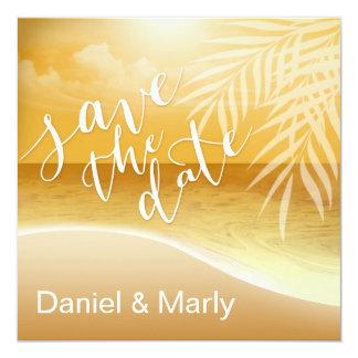 Flamingo Beach Save the Date | gold Card