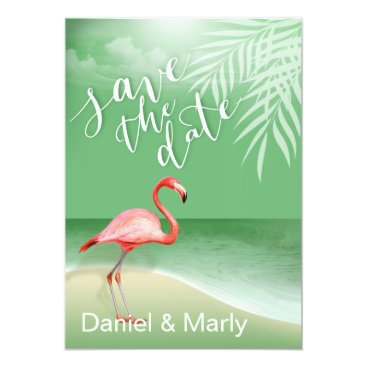 Beach Themed Flamingo Beach Save the Date | jade Card