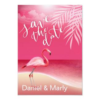 Flamingo Beach Save the Date | pink Card