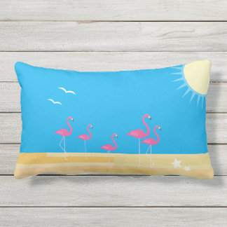 flamingo beach scene outdoor lumbar pillow