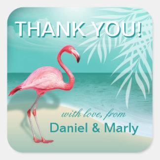 Flamingo Beach Thank You | aqua Square Sticker