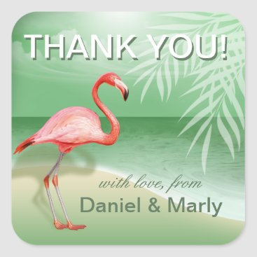 Beach Themed Flamingo Beach Thank You | jade Square Sticker