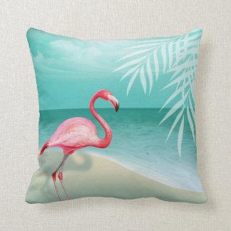Flamingo Beach Wedding | aqua Pillow