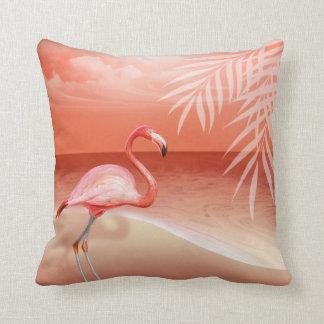 Flamingo Beach Wedding   coral Pillow