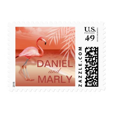 Beach Themed Flamingo Beach Wedding | coral Postage