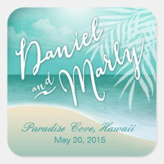 Flamingo Beach Wedding Favor | aqua Square Sticker