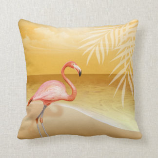 Flamingo Beach Wedding | gold Throw Pillow