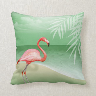 Flamingo Beach Wedding | jade Throw Pillow