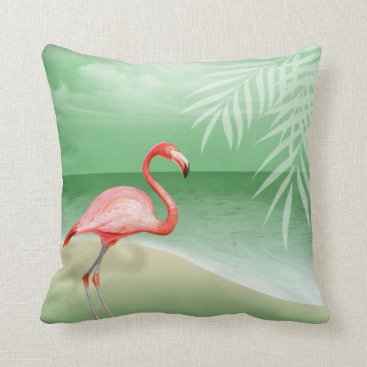 Beach Themed Flamingo Beach Wedding | jade Throw Pillow