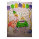 Flamingo Bird Happy Birthday Paper Greeting Card