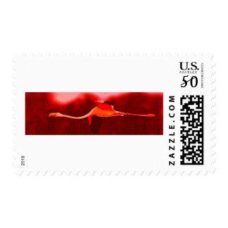 Flamingo Bird & Red Sky Modern Postage Stamp