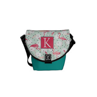 Flamingo Bird With Feathers   Add Your Initial Courier Bag