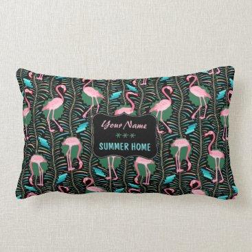 Beach Themed Flamingo Birds 20s Art Deco Ferns Summer Home Name Lumbar Pillow
