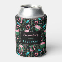 Flamingo Birds 20s Deco Ferns Pattern Black Custom Can Cooler
