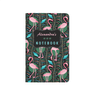Flamingo Birds 20s Deco Ferns Pattern Black Custom Journal