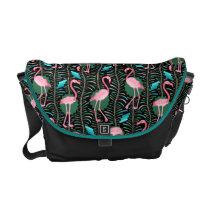 Flamingo Birds 20s Deco Ferns Pattern Black Green Courier Bag