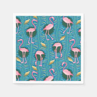 Flamingo Birds 20s Deco Ferns Pattern Blue Gold Napkin