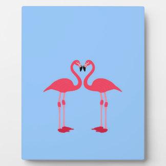flamingo birds love heart peace and joy display plaque