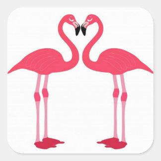 flamingo-birds square sticker