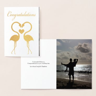 Valentines Themed Flamingo Birds With Love Heart Personalized Foil Card