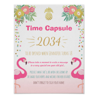 Flamingo Birthday guestbook Time Capsule Pineapple