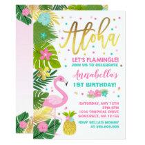 Flamingo Birthday Invitation Topical Luau Party