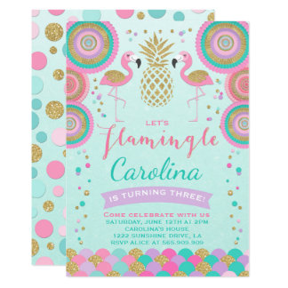 Flamingo Birthday Invitation Topical Party Invite