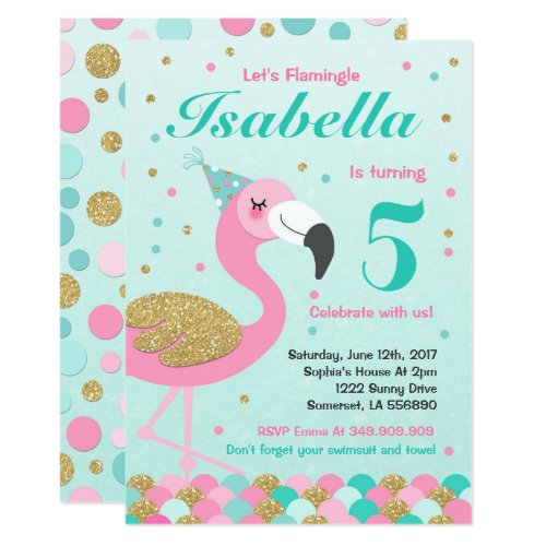 Flamingo Birthday Invitation Topical Pool Party