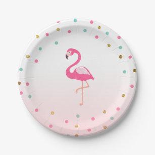 Flamingo Birthday Paper Plates Tropical Luau  sc 1 st  Zazzle & Flamingo Plates | Zazzle